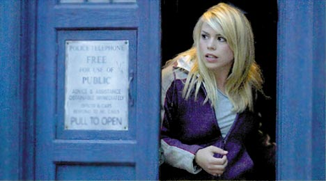 Rose Tyler and the TARDIS.