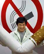 Jackie Chan beats up a cigarette. :)