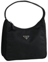 A somewhat large, black leather handbag, with handles to it--an ordinary handbag, in fact.