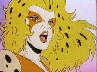 Cheetara. Heavy eye makeup, leopard print clothes and frigging huge hair.. you can't half tell it was the '80s, huh?